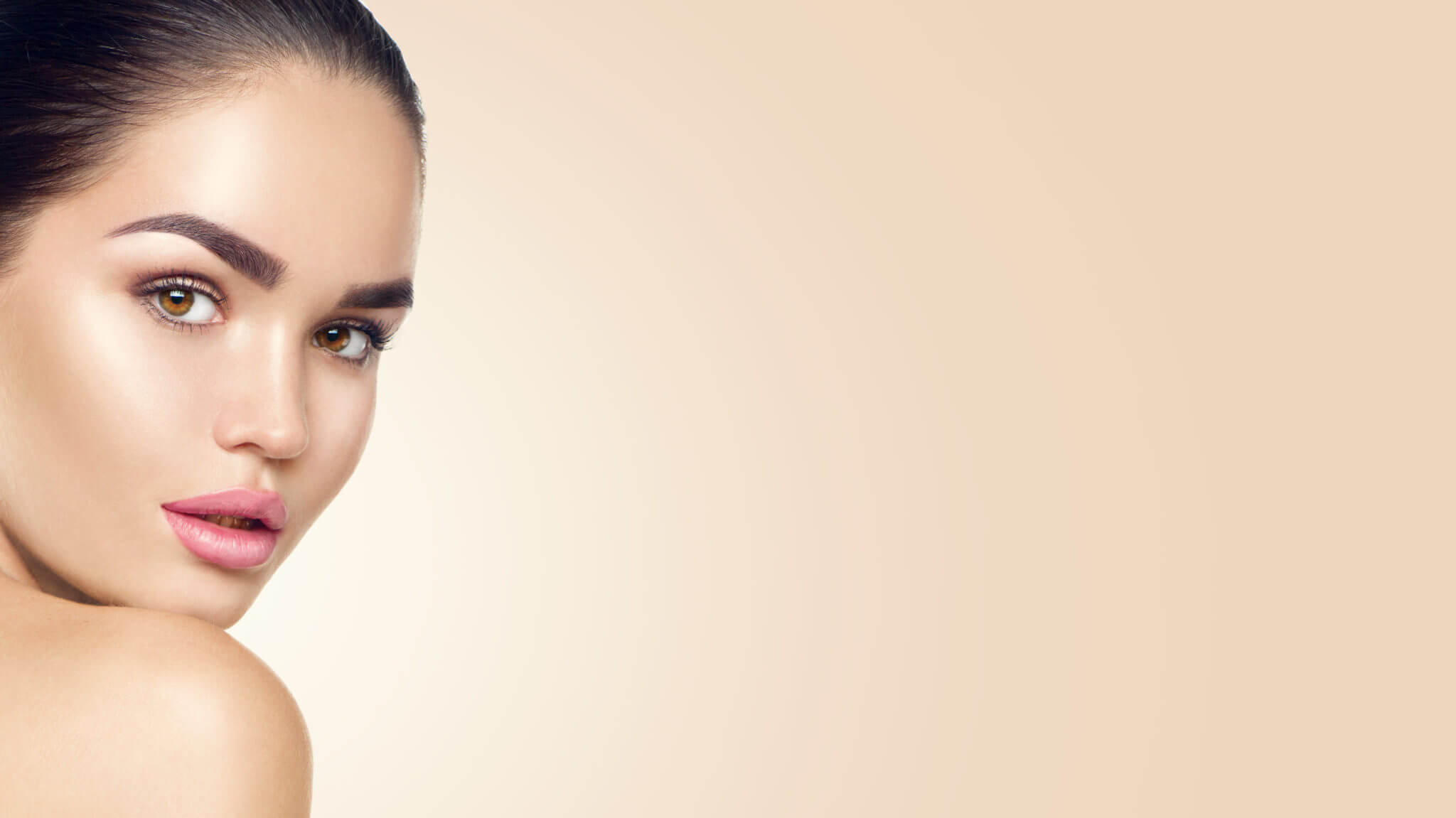 Beauty Woman Face Beautiful Brunette Young Model Girl With Perfect Skin Skincare Concept M Beauty Studio